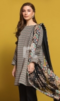 Black Printed Stitched Lawn Frock & Printed Voil Dupatta - 2PC