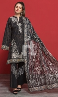 Black Printed Embroidered Stitched Lawn Shirt & Printed Voil Dupatta - 2PC