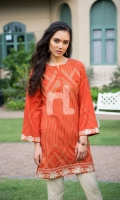 Orange Dyed Embroidered Stitched Slub Lawn Shirt - 1PC