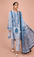 - Digital Printed Slub Lawn Shirt: 3 Mtr  - Digital Printed Silk Chiffon Dupatta: 2.5 Mtr  - Dyed Cambric Trouser: 2.5 Mtr  - Embroidered Front + Border (Patch)