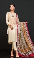 Printed Wool Shawl Printed Linen Shirt 3 Mtr Dyed Linen Trouser 2.5 Mtr Embroidered Neckline