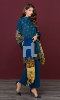 Printed Pashmina Shawl Printed Karandi Shirt Dyed Karandi Trouser Embroidered Sleeves & Border