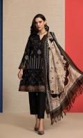 - Printed Karandi: 3.5 Mtr  - Dyed Karandi Trouser: 2.5 Mtr                 - Printed Wool Shawl: 2.5 Mtr
