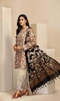 - Printed Karandi Shirt: 3.5Mtr  - Dyed Embroidered Karandi Trouser: 2.5 Mtr      - Printed Wool Shawl: 2.5 Mtr  -Embroidered Border (Patch)