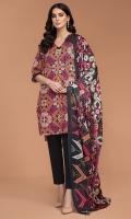 - Digital Printed Khaddar Shirt: 3 Mtr  - Dyed Khaddar Trouser: 2.5 Mtr               - Printed Karandi Dupatta: 2.5 Mtr