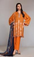 - Printed Linen Shirt: 3.5 Mtr  - Dyed Linen Trouser: 2.5 Mtr                    - Printed Linen dupatta: 2.5 Mtr  -Embroidered Neckline (Patch) + Border (Patch)