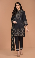 - Dyed Embroidered Khaddar Shirt: 3.5 Mtr  - Dyed Khaddar Trouser: 2.5 Mtr               - Printed Karandi Dupatta: 2.5 Mtr