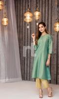 Green Printed Formal Stitched Zari Gold Shirt - 1PC