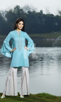 Blue Embroidered Formal Stitched Cotton Shirt - 1Pc