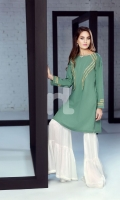 Green Embroidered Formal Stitched Cotton Shirt - 1PC