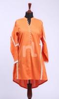 Orange Plain Formal Stitched Lawn Shirt - 1Pc