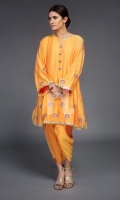 Orange Embroidered Formal Stitched Silk Shirt And Tulip Shalwar - 2Pc