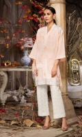 Peach Embroidered Formal Stitched Cotton Shirt - 1Pc