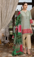 Printed Voil Dupatta (100% Cotton) Printed Lawn Shirt + Embroidered Border (100% Cotton) Dyed Cambric Trouser (100% Cotton)