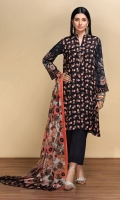 Digital Printed Lawn Shirt: 3 Mtr Dyed Cambric Trouser: 2.5 Mtr Digital Printed Voil Dupatta: 2.5 Mtr Embroidered Sleeves