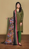 Gold Printed Lawn Shirt: 3.5 Mtr Dyed Cambric Trouser: 2.5 Mtr Gold Printed Voil Dupatta: 2.5 Mtr