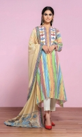 Printed Lawn Shirt: 3.5 Mtr Dyed Cambric Trouser: 2.5 Mtr Printed Embroidered Voil Dupatta: 2.5 Mtr