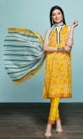 Printed Lawn Shirt: 3.5 Mtr Dyed Cambric Trouser: 2.5 Mtr Gold Printed Voil Dupatta: 2.5 Mtr