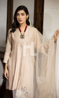 Embroidered Stitched Formal Cotton Net Shirt & Polyester Net Dupatta – 2PC