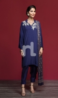 Embroidered Stitched Formal Silk Shirt & Chiffon Embellished Dupatta