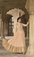 Dyed Stitched Formal Georgette Chiffon Long Dress & Embroidered Velvet Jacket – 1PC