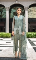 Stitched Formal Polyester Net Shirt, Embellished Dupatta, Trouser & Slip – 3PC