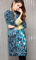 Blue Embroidered Stitched Crepe Shirt -1PC