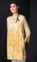 Yellow Embroidered Stitched Linen Shirt - 1PC