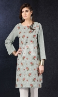 Grey Embroidered Stitched Karandi Shirt - 1PC
