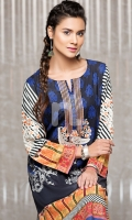 Blue Embroidered Stitched Crepe Shirt - 1PC