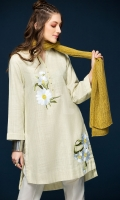 Beige Embroidered Stitched Karandi Shirt - 1PC