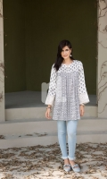 Off White Printed Embroidered Stitched Sateen Frock - 1PC