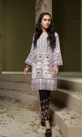 Peach Printed Embroidered Stitched Khaddar Shirt - 1PC
