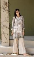 Beige Printed Stitched Cotton Shirt - 1PC