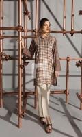 Brown Printed Embroidered Stitched Karandi Shirt - 1PC