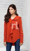 Orange Plain Dyed Stitched Polyester Top - 1PC