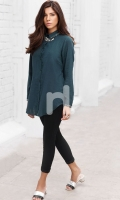 Green Plain Dyed Stitched Viscose Top - 1PC