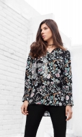 Black Printed Stitched Viscose Top - 1PC