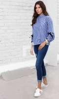 Blue Printed Stitched Cotton Top - 1PC