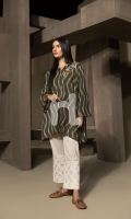 Green Printed Embroidered Stitched Cotton Shirt - 1PC