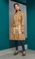 Brown Printed Stitched Khaddar Shirt - 1PC