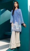 Blue Digital Printed Stitched Khaddar Shirt - 1PC