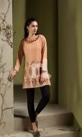Orange Printed Embroidered Stitched Karandi Shirt - 1PC