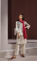 Off White Printed Embroidered Stitched Karandi Shirt - 1PC