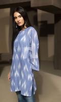 Blue Printed Stitched Jacquard Shirt - 1PC