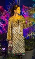 Yellow Printed Embroidered Stitched Karandi Shirt - 1PC