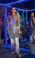 Grey Plain Embroidered Stitched Karandi Shirt - 1PC
