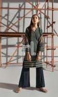 Black Digital Printed Embroidered Stitched Cotton Karandi Shirt - 1PC
