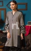 Black Printed Stitched Karandi Shirt - 1PC
