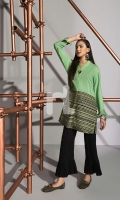 Green Printed Stitched Linen Shirt - 1PC